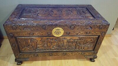 Vintage Oriental Chinese Camphor Wood Hand Carved Box Trunk Hope Chest Table  L