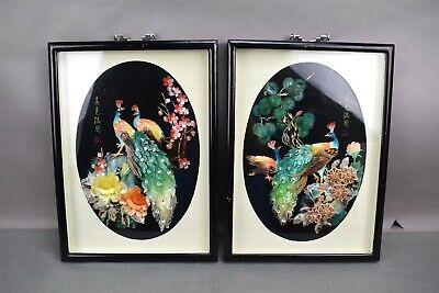 Chinese Shell Carving Picture Bird Peacock Framed Limited Edition Lot of 2