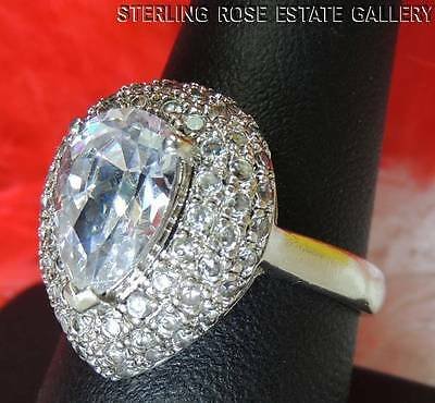 """CUBIC ZIRCONIA 3/4"""" Sterling Silver 0.925 Estate Eye Popping COCKTAIL RING sz 9"""