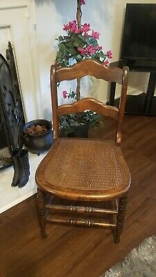 Pleasing Vintage Carved Wood Cane Seat Small Side Accent Chair 2 Tier Ncnpc Chair Design For Home Ncnpcorg