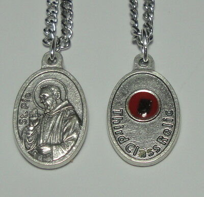 "St Padre Pio of Pietrelcina Third Class Relic Holy Medal on 24"" Steel Chain"