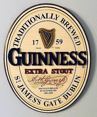 """Official GUINNESS Extra Stout Harp Logo 18 x 14 Oval Wooden Beer Sign """"Man Cave"""""""