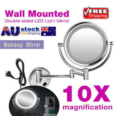 "8.5"" 10x Magnifying Makeup Mirror With LED Light Cosmetic Vanity Bathroom AU"