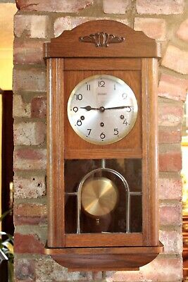 Antique German 'Kieninger' 8-Day Oak Case Wall Clock with Westminster Chimes