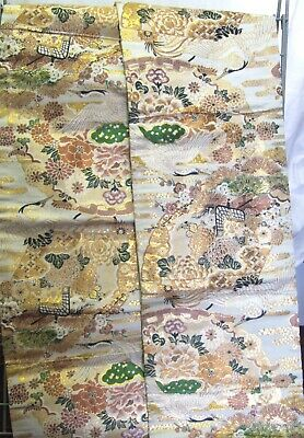 Magnificent Japanese Silk Obi, Peach with Gold & Multi Coloured Patterns - OB120
