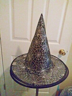 Large SPIDER WEB WITCH HAT Tall Cap Costume Halloween Black Silver Nylon Wire