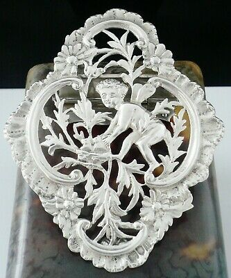 Silver & Faux Shell Cherub Desk Clip Letter Holder, J Batson & Son, London 1901
