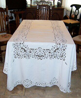 "Antique/Vintage White Embroidered Large Table Cloth, 116"" by 66"""