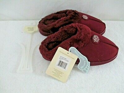 Muk Luks 15589 Faux Suede Clog w. Faux Fur Lining Burgundy Size S (5-6) NWT