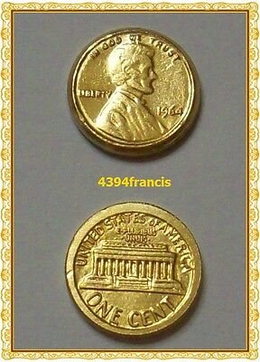mini Pièce USA 1964 OR 22K GE Arras Lincoln Penny Liberty One Cent GOLD Arrhes