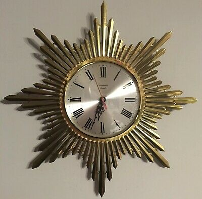 Vintage Mid Century Timemaster Sunburst Gilt Wall Clock Retro Battery Working