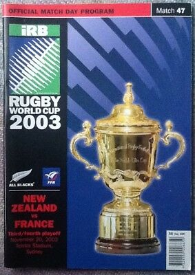 2003 RUGBY WORLD CUP 3rd & 4th PLACE PLAY OFF - New Zealand v France programme