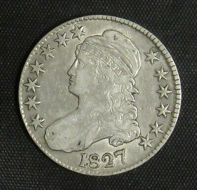 1827 Capped Bust Half Dollar Square Base 2 XF/AU