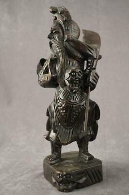 Vintage Asian Art Wood Carving Chinese Soldier Warrior Full Uniform & Weapon
