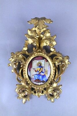 Antique 19th Century Gold Gesso Frame St Marco Ecole Du Limousin Icon Saint Mark