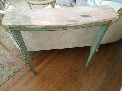 French Style Romantic Pink Marble Top Wall Table Original Italian Green Painted