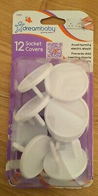 Pack of 12 Dreambaby Safety Plug Socket Covers for UK Plugs