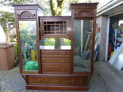 Antique Mahogany Breakfront Double Wardrobe
