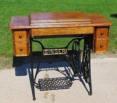 5-Drawer Singer Red Eye Treadle Sewing Machine  ~ Pick up only