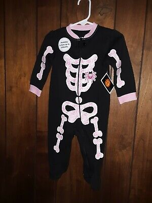 Way to Celebrate Halloween Black with Pink Skeleton Sleep and Play 6-9 mos  New