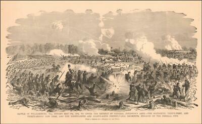 WILLIAMSBURG, VIRGINIA, Battle Scene, Civil War, antique engraving original 1885