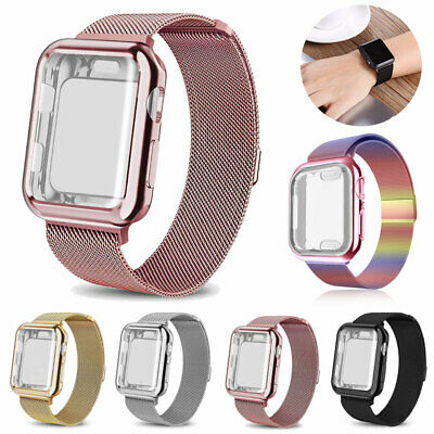 For Apple Watch 5 4 3 2 Milanese Metal Band Strap+Full Case Cover iWatch 40/44MM