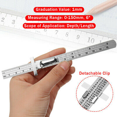 "6"" Mini Ruler Pocket Rule Stainless Steel Measuring Tool SAE & Metric w/ Clip"