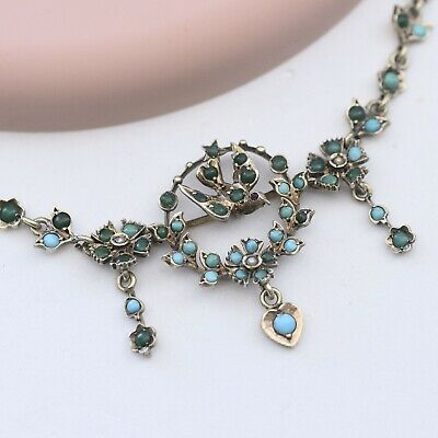 Antique Victorian Persian Turquoise Bird Flower Heart Sterling Silver Necklace