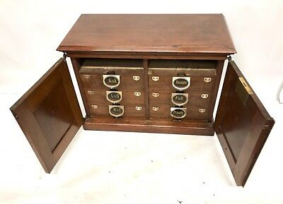 Walnut Antique Victorian AMBERG Desk Top Filing Cabinet / Drawers Shop Fitting