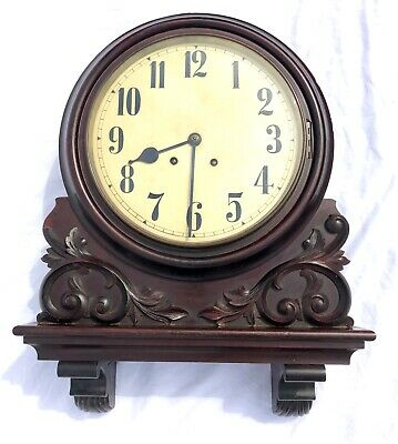 Antique Single Carved Mahogany Wall Clock Winterhalder & Hofmeier W & H