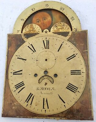 Antique Longcase Grandfather Clock Dial 8 Day Rolling Moon Newcastle