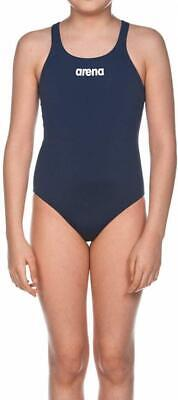 arena G Solid Swim PRO Junior, Costume Sportivo Bambina 4-5, Blu (Navy/White)