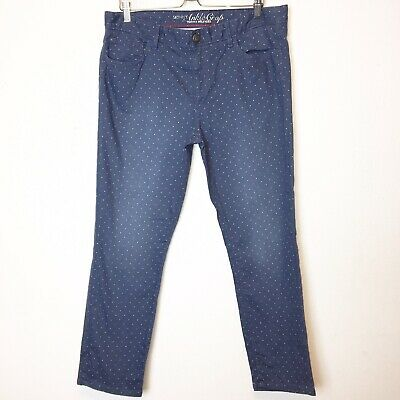 Tommy Hilfiger Womens Blue and White Dot Skinny Ankle Crop Jeans Size 14