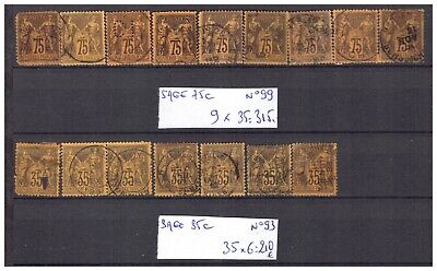 LOT: SAGE violet orange N° 93 et 99, cote Y&T 525 €, oblitéré, an 1876/81