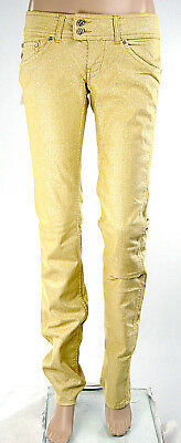 Jeans Donna MET Pantaloni Glittering Gamba Dritta Made in Italy C416A Oro Tg 27