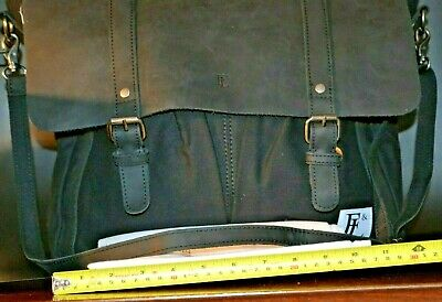 Forbes & Lewis Leather and canvas Laptop Computer Briefcase Case work unisex bag