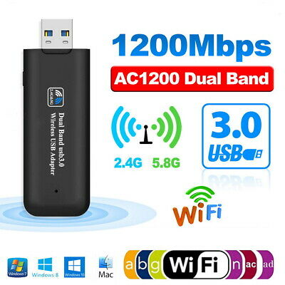 UK 1200Mbps Wireless USB 3.0 5GHz WiFi Network Receiver Adapter Dual Band Dongle