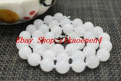 """Natural White Jade 8mm Round Gemstone Beads Necklace 18"""" AAA++"""