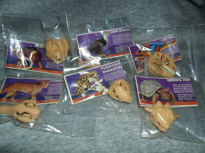 Yowies Lost Kingdom A  / Full Set Of 6 Prehistoric Skulls  Set / Rare Papers