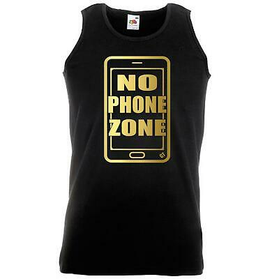 Unisex Black No Phone Zone Vest Gold Print Connect Mobile Telephone App