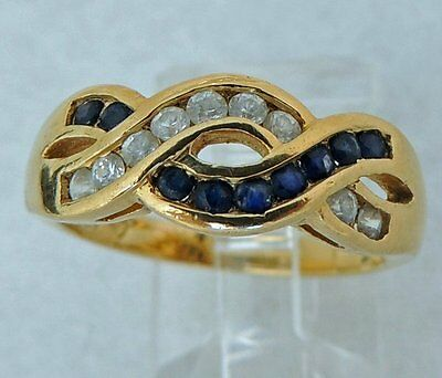 Sterling Silver VERMEIL SAPPHIRE clear stone Estate 7.46mm wide RING Size 6.5