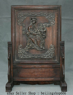 """20"""" Old China Huanghuali Wood Hand Carved Belle fairy Piping Flower Screen"""