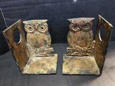 Vintage Antique Owl Bookends Pair Cast Iron Heavy Rustic Patina
