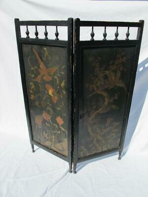 Antique Victorian / Aesthetic Movement Ebonised Wooden Screen Japonned Panels
