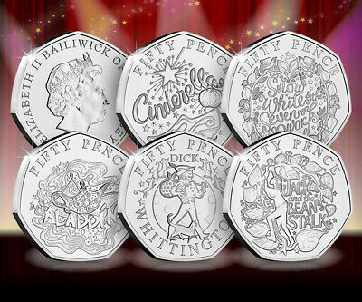 XMAS PANTO 2019 5 X50p Coin Set BU Guernsey 4000 ONLY minted