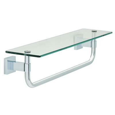 18 in Glass Shelf with Towel Bar Polished Gleaming Chrome Bathroom Decor Storage
