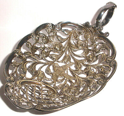 Antique Victorian Aesthetic Open Work Silver Plate Tray Flowers Bird Decoration