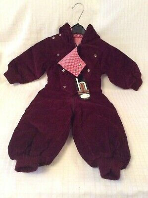 Vintage Harringtons  Burgundy Corduroy Snow Suit Age 18 Months (New With Tag)