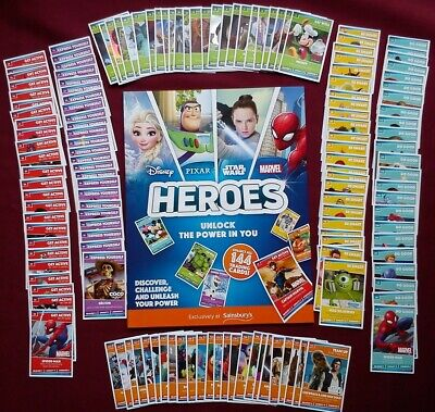 COMPLETE Sainsburys HEROES 144 Trading CARDS Empty ALBUM Disney STAR WARS Marvel