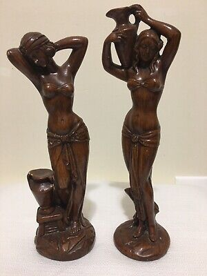 2 Wooden Hand Crafted UNBREAKABLE Brand Women Statue Made in ITALY Home Decor